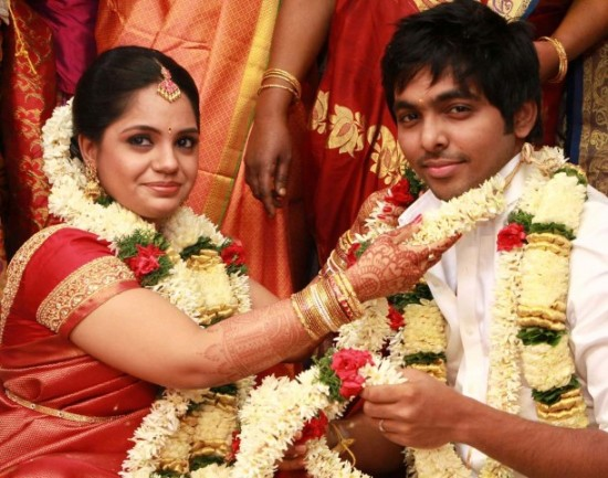 N Saindhavi And Singer GV Prakash Kumar Marriage Pictures