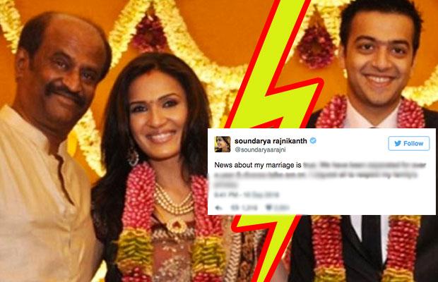 Soundarya Rajinikanth And Ashwin Divorce Pics
